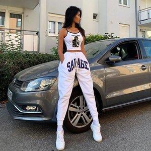 Талия Белые женские брюки Letters Printed женщин карандаш брюки Мода Drawstring Дизайнер Дамы Capris Повседневный High
