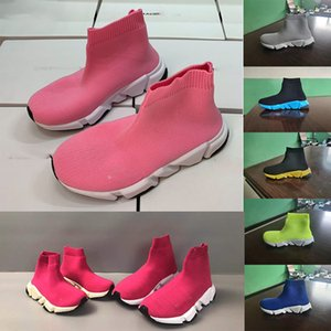 Kids Fashion Toble Boots Stretch Mess Designer Shoes Running Sock Sock Mid-Top Sneakers Trainer Children Baby Sneaker 24-35