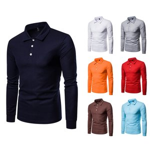 Blouse Long Sleeves Casual Black White Polo Shirt for Men Turn Down Collar Office Business Uniform Cotton Blend 8 Solid Colors Lapel Q112
