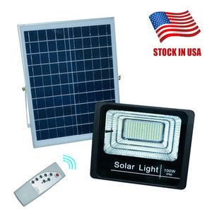 Luz solar LED Spotlight 40W 60W 100W 200W Súper brillante Powered Powered Wormlight impermeable IP67 Lámpara de calle con control remoto