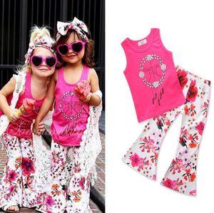 2.018 bebés Ropa Niños ropa del niño sin mangas Campanula tapas de la camiseta + Floral Pantalones acampanados chicas Equipos ropa de los niños BY1410