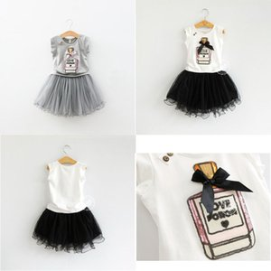Infantil Summer Girls Vestuário Lantejoula Bow Perfume garrafa 2 T-shirt cor + Skirt