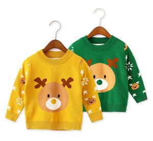 2019 가을과 겨울 아이들의 스웨터 니트 직물 새 기본면 스웨터 귀여운 만화 패턴 녹색과 노란색