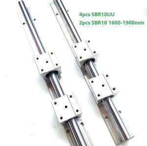 2 pz SBR10 1600mm / 1700mm / 1800mm / 1900mm guida di supporto guida lineare della guida + 4 pz SBR10UU blocchi di cuscinetti lineari per parti del router di CNC