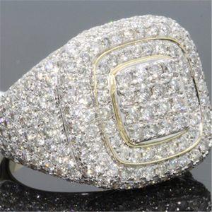 14K Gold Full Diamond Rings for Men Hip-hop Peridot Gemstone Anillos De Bizuteria Wedding Bague Sparkling diamond Jewelry Ring SH190930