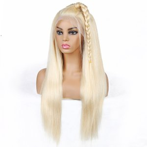 T Parrucca Parte Capelli biondi brasiliani lisci capelli umani parrucche Biondi 613 capelli umani T merletto della parte anteriore parrucche peruviano indiano