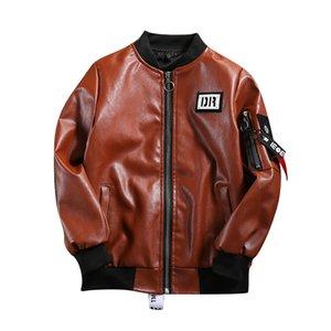 garçons pu veste 5-15 ans Cartoon manteau de baseball imprimé haute qualité en cuir lavé enfants cadeau manteau Faux Leather Chest label