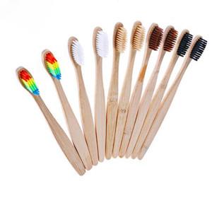 Bambu Kolu Diş fırçası Beyazlatma Gökkuşağı Renkli Çevre dostu Bambu Diş Fırçası Ağız Bakımı