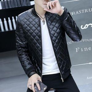 Giacca invernale da uomo in pelle nera con collo alto imbottito in pelle sintetica per uomo giacca da uomo