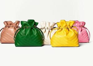 2020 최신 유행 키라 갈매기 미니 버킷 경사 크로스 바디 fufu 어깨 가방 100 % 가죽 플라멩코 매듭 가방