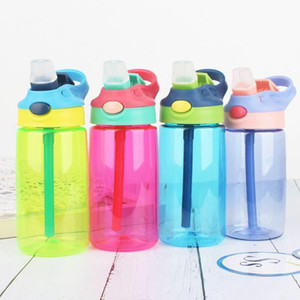 480ml Portable enfants Bouteille d'eau en plastique sans BPA Gobelets avec paille Leak Proof Gobelet pour Voyage en plein air