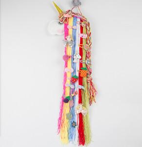 Unicorn Cabelo Arcos rack de armazenamento de feltro por clipes meninas Barrette Hairband dos desenhos animados Hanger Organizador Faixa de Suporte para Acessórios de cabelo