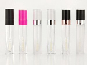 6.5ML Clear Round Lip Gloss Tube Empty Lip Balm Tubes White Pink Black Cap Makeup Tool Cylinder Lipstick Tube
