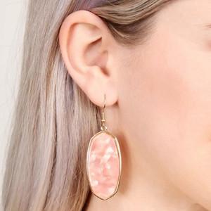 Kendra Srping Summber Gold Natural Oval Stone Acetato Orecchini ovali per le donne Fashion Designer Abalone Shell Grandi orecchini Monili delle donne