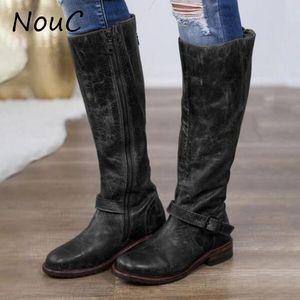 NouC femmes Bottes Zipper Mi-mollet en cuir PU Casual Womans bottillons Boucle de ceinture Stylisme bout rond Chaussures pour femmes