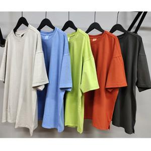 2020ss Panelled Garment-washed Cotton T-Shirt Distressed Short Sleeve Side Slits T Hip Hop Street