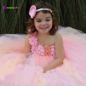 Ksummeree -parole longueur fleurs filles Tutu robe de noce Props de photo vêtements de bebe princesse duveteux enfants robe ts075 j190506