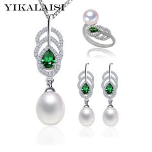 Yikalaisi 2017 100% Natural Conjunto de Perlas de Agua Dulce 8-9mm Perla 925 Joyería de Plata Esterlina Anillo Stud Pendientes Pendientes Para Las Mujeres J190718