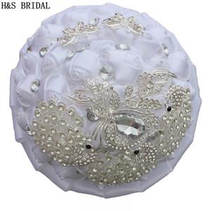 Многоцветные свадебные цветы Свадебные подарки Свадебные букеты, украшенные хрустальной жемчужиной Розы Цветы Букет невесты Букет брошь