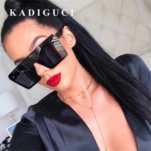 KADIGUCI Occhiali da sole quadrati oversize Donna Vintage Marca Moda Flat Top Rosso Nero Lente trasparente One Piece Uomo Gafas Paralume Specchio UV400 K349