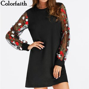 Colorfaith Yeni 2018 Kadın Elbise İlkbahar Yaz Vintage Bayanlar Mini Elbiseler Retro Transprent Kollu Ile Çiçek Baskılı Dr3263 Y190425