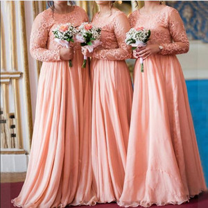 2020 Modest Long Sleeves Chiffon Muslim Bridesmaid Dresses Plus Size Lace Ruched Long Maid of Honor Wedding Guest Gowns BM1910