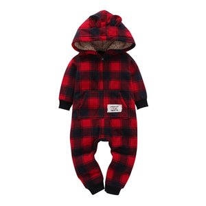 Kid Boy Girl Manga larga con capucha Fleece Jumpsuit mono Red Plaid Newborn Baby Invierno Ropa Unisex New Born Costume 2019 J190425