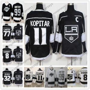 2019 Los Angeles Kings Maillots # 11 Anze Kopitar 8 Drew Doughty 32 Jonathan Quick 77 Jeff Carter 99 Gretzky Noir Blanc Vintage