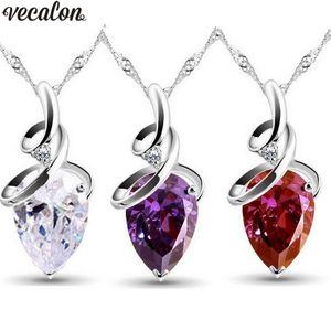 Ciondolo Water Drop Vecalon 3 colori argento Colore Crystal cz Pendenti con ciondoli da sposa con collana per le donne Gioielli da sposa