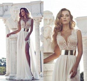 Nuovo Julie Vino abiti da sposa in pizzo con maniche ad aletta fascia d'oro e d'immersione del collo a vita alta fessura della parte anteriore abiti da sposa spiaggia abiti da sposa