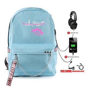 Mode-Design Rap Lil Peep Rucksack USB aufladbare Schoolbag Frauen Schulterreisetasche Multifunktions Teenager Rucksack