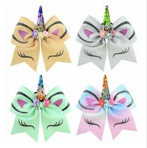 freies Verschiffen 30pcs 7-8 '' Mädchen Sequin Unicorn-Party-Beifall Bögen Große Einhorn Cheer-Bogen-Haar-Bögen mit elastischem Band-Pferdeschwanz-Halter für