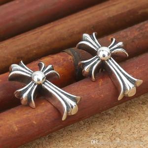 Marque nouvelle 925 bijoux en argent à la main en argent antique American vintage design boucles d'oreilles croix pour les femmes chaudes