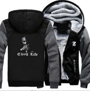 2Pac Printed Щитовые фуфайки Hip Hop Повседневный Кардиган Толстовки Мужской Толстые High Street пуловер