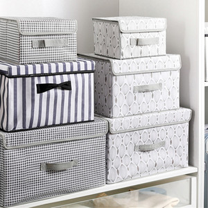 Cubo grande no tejidas caja de almacenamiento plegable de tela Juguetes organizadores ubicaciones con la tapa principal dormitorio armario de la oficina Nursery
