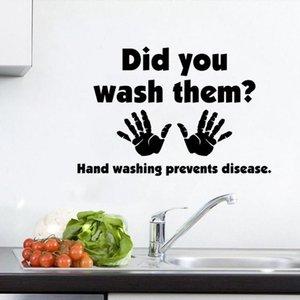 Lavar a mão Reminder Signage adesivo parede removível Mural Signage Para Pública Banho Decoração A002092