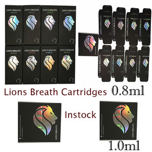 Lions Breath Vape Cartridges Packaging Vapes Carts Oil Atomizer 510 Thread E cigarettes Instock 11color 0.8ml1.0ml Round Press Tip Vaporizer