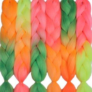 Cheap Jumbo MERISIHAIR 24inch Crochet Box Braids 100g pc Ombre Jumbo Braids Synthetic Braiding Hair Extensions