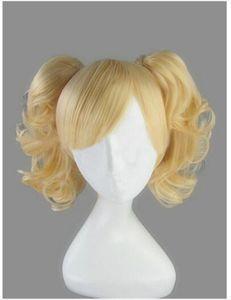 Hot vendre Batman Harley Quinn d'or perruque blonde cosplay perruque bon marché à haute température fibre synthétique cheveux Parti perruques Costume