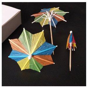 NAVE RÁPIDA DE DHL Paraguas pequeño palillo mondadientes artesanía flor palillo de dientes fruta recoger / cóctel cuadro de decoración de la torta lleno bandera octogonal