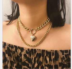 Heart-shaped Jewelry Creative Openable Hanging Necklace Double Layer Simple Chain Short Necklace