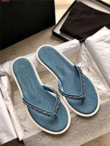 Printemps / été 2020 nouveau jean chain-link flip-flops Dames chic métallique chaîne-tricoté flip-toe Plat casual Sandales Pantoufles