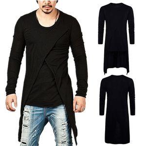 Moda Masculina Cruz Super Layered cauda T-shirt longo Sólidos desgaste da cor Long Sleeve T-shirt Andorinha Hem Rua T-shirt Top