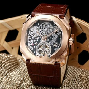 19New 6 Estilo Octo pulseira de borracha Mens Finíssimo Tourbillon 102719 Esqueleto Automatic Assista Rose ouro de alta qualidade Gent Novos Relógios