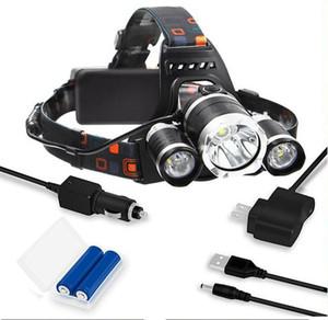 DHL 2020 Wiederaufladbare Scheinwerfer 13000Lm xm-T6 3led Scheinwerfer-Kopf-Licht-Lampe Angeln Jagd Laterne + 2x 18650 + Auto / AC / USB-Ladegerät