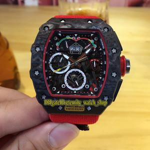 De calidad superior RM 50-03 01 McLaren F1 de fibra de carbono NTPT Caso dial esquelético de nylon correa de relojes deportivos Japón Miyota automático RM50-03 del reloj para hombre