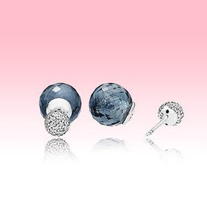 Pendientes de perno de gotas de agua azules Pendiente de bola de cristal de alta calidad con caja original para Pandora 925 Pendiente de plata de la plata esterlina