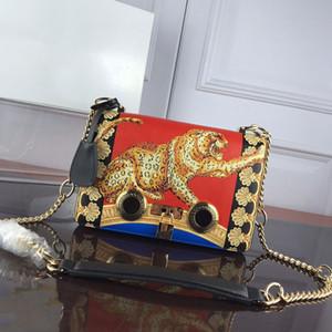 Bolsos de mujer Bolsa de cuero genuino de alta calidad Bolsos de hombro de la cadena Lady Square Bag Impreso Contrastando Color de las mujeres Messenger Bag Hardware