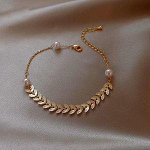 Pearl Wheat Ear Leaves Cool Bracelet Ins Niche Design Girlfriends Students Sisters Bracelet Simple Cold Wind