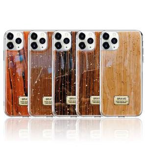 Goldfolie hölzerne Muster-Telefon-Kasten für iPhone 11 Pro XS Max XR X 8 7 6 Plus weiche Silikon-Abdeckung